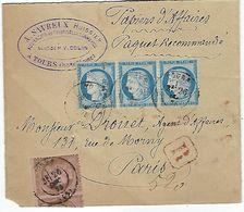 Papier D'affaire Recomandé En 1875 - Postmark Collection (Covers)