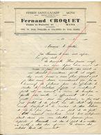 Mons Lettre De La Piperie Saint-Lazare Fernand Croquet Pipes En Terre émaillées Et Coloriées 1940 - Collections