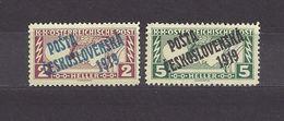 Czechoslovakia Tschechoslowakei 1919 MNH ** Mi 69-70 Sc B34,36 Austrian Stamps Of 1916-18 Mi 219-220 Overprinted - Cecoslovacchia