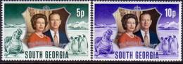 SOUTH GEORGIA 1972 SG #36-37 Compl.set MNH Royal Silver Wedding - South Georgia