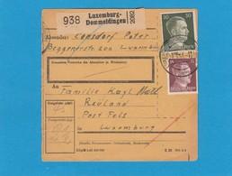 PAKETKARTE VON LUXEMBURG-DOMMELDINGEN NACH REULAND(FELS). - 1940-1944 Deutsche Besatzung
