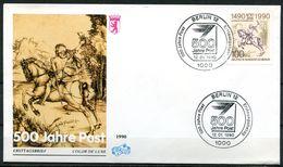 """First Day Cover Germany Berlin 1990 Mi.Berlin Nr.860""""500 Jahre Post,Intern.Postverbindungen,Postreiter """" 1 FDC - Post"""
