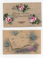 CPA En Celluloid Peinte Fleurs A Toi Tout Mon Coeur C'est Un Coeur Ami Qui Vous L'envoie (2 Cartes) - Fêtes - Voeux