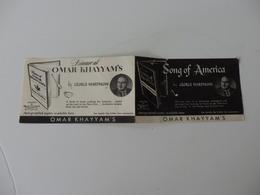 Pub Ou Carte De Visite De Book Of The Month Club In America By Omar Khayyam's. San Francisco, New-york, Chicago. - Autres