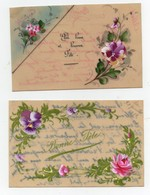 CPA En Celluloid Peinte Fleurs Roses Pensées Bonne Fête (2 Cartes) - Fêtes - Voeux