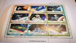 "Bloc ""history Of The Space Exploration 1957-1989""+ Sierra Leone + Espace+ Congo - Space"