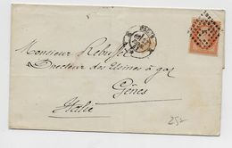 1863 - LETTRE De PARIS K Pour GENES (ITALIE / ITALIA) Avec N°23 - Postmark Collection (Covers)