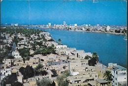 IRAQ - BAGHDAD - VEDUTA AEREA -VIAGGIATA 1974 FRANCOBOLLO ASPORTATO - Iraq