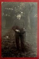 CPA CARTE PHOTO MILITARIA GUERRE SOLDAT Désiré LEFORT D' ABSCON NORD Prisonnier CAMP MUNSTER ALLEMAGNE CACHETS - War 1914-18
