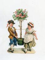 Découpis (10 X 16 Cm) Enfants Et Pot De Fleurs . ROSES . Rosier . Children And Flowers . Rosebush - Children
