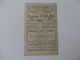 Publicité Sur Les Matériaux Louis Colin 177, Bd Victor-Hugo à Lille (59) Avec Carte Des Chemins De Fer Du Nord. - Publicidad