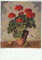 """Painting : """" Geranie """"  Eugen Tomasi. German Card.  Used 1960.  # 07393 - Paintings"""