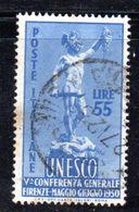 Y2109 - REPUBBLICA 1950 ,  55 Lire  Sassone N. 619  Usato . Unesco - 6. 1946-.. Repubblica