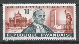 Rwanda 1966. Scott #147 (M) Pope Paul VI, St. Peter's, UN Headquarters, Statue Of Liberty * - Rwanda