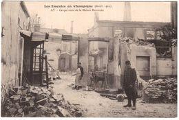 CPA MARNE.LES EMEUTES EN CHAMPAGNE..CE QUI RESTE DE LA MAISON BISSINGER - Francia
