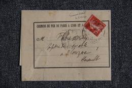 Timbre Seul Sur Lettre - Chemins De Fer De PARIS ( CLERMONT FERRAND Vers OLONZAC) Semeuse Camée 10 C Rouge - 1877-1920: Periodo Semi Moderno
