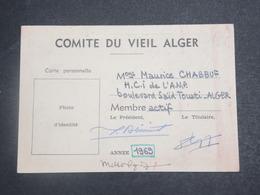 VIEUX PAPIER - Carte De Membre Du Comité Du Vieil Alger En 1969 - L 15117 - Collections