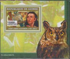 Guinée 2006 John James AUDUBON Bird Oiseau Owl Hiboux BF Luxe Perforé Gommé - Beroemde Personen