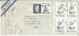 ARG008 - ARGENTINA -LETTERA AEREA ESPRESSO DA BUENOS AIRES A ROVERETO 1979 - N. 1207+4x1211+4x1209 CAT. YVERT - Argentina