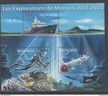 MONACO, 2017, MNH, UNDERWATER EXPLORATION, SHIPS, CORALS, FISH, S/SHEET - Marine Life