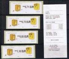 4 ATMs, Lisa2, 0.71, 0.73€, 0.85, 1.10€ BOITES AUX LETTRES, MUSEE DE LA POSTE. - 2010-... Geïllustreerde Frankeervignetten