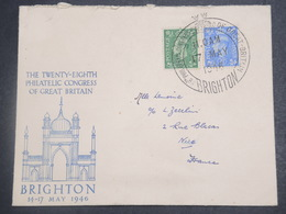 GRANDE BRETAGNE - Enveloppe Et Oblitération Du Congrès Philatélique De Brighton En 1946 Pour La France - L 15146 - Marcofilie
