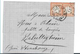 EL086 / ELSASS -  COLMAR Hufeisenstempel Auf Kleinem Brustschild (Mi.Nr. 14 Im Paar) 1873 Nach Schiltigheim - Deutschland