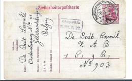 BB099 / Zivilarbeiterkarte 1918, Geerrwardsbergen (Mi.Nr. P 7) Postüberwachung - Weltkrieg 1914-18