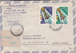 URUGUAY. AIRMAIL RECOMMANDE. CIRCULEE TO GERMANY-TBE-BLEUP - Uruguay