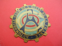 Plaque Ancienne De Calandre De Voiture/ Automobile Club De L'Ouest De La France/Emailloïd/Paris/ Vers1950  AC143 - Cars