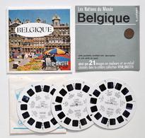 VIEW-MASTER : BELGIQUE (Belgium) + Pièce 20 Centimes 1954 / Waterloo, Louvain, Dinant, Bastogne, Eupen, Ostende, Gand .. - Visionneuses Stéréoscopiques