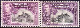 TRINIDAD & TOBAGO 1938-44 SG #252,a 12c MNH Both Shades CV £40 #252a Very Lightly Creased - Trinidad & Tobago (1962-...)