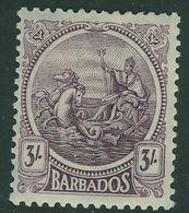 BARBADOS KGV 1921 3s SG 228 Deep Violet Mounted Mint - Barbados (...-1966)