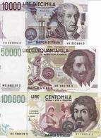 ITALY-LOTTO 10,50,100 MILLE LIRE -UNC-FDS-COPY-RIPRODUZIONE - [ 2] 1946-… : Republiek