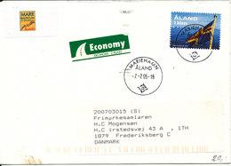 Aland Cover Sent To Denmark Mariehamn 7-7-2005 - Aland