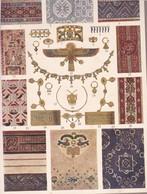 TISSUS ET BIJOUX. EGYPT. ART ANTIQUE-LAMINA SHEET PLANCHE-BLEUP - Afiches