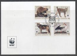 LIECHTENSTEIN, 2017, WWF, ENDANGERED ANIMALS, BIRDS, LYNX, WOLVES, BEAVERS, 4v ON LOCAL FDC - Unused Stamps