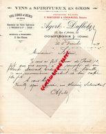 60- COMPIEGNE- RARE LETTRE 1919 MANUSCRITE SIGNEE AGERT DUFLOT-MONCOURIER-VERON-MICHEL-VINS SPIRITUEUX- - Food