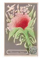 Cpa Fantaisie Relief Carte Gaufrée Fleur Meilleurs Voeux Cachet 31 12 1906 Montreuil Sous Bois - Autres