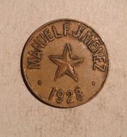 TOKEN JETON GETTONE COSTA RICA HACIENDA CURRIDABAT MANUEL F. JIMENEZ 1928 - Monedas / De Necesidad