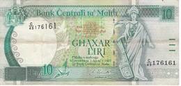 BILLETE DE MALTA DE 10 LIRAS DEL AÑO 1989  (BANKNOTE) - Malta