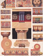 DETAILS DE CONSTRUCTIONS GRECQUES EN MARBRE, GREC.-LAMINA SHEET PLANCHE-BLEUP - Afiches