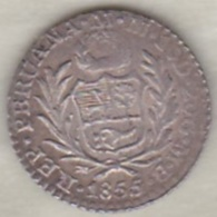 Perou . 1/2 Real 1855 MB . Argent. Rare.  KM# 144.7 - Pérou