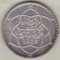 Maroc . 2 1/2 Dirhams (1/4 Rial) AH 1329 Paris, Moulay Afid I, En Argent - Maroc