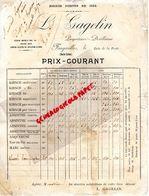 70- FOUGEROLLES- RARE PRIX COURANT L. GAGELIN-PROPRIETAIRE DISTILLATEUR-DISTILLERIE- KIRSCH- ABSINTHE- ARQUEBUSE - Alimentaire