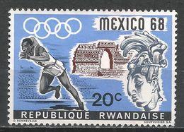 Rwanda 1968. Scott #250 (M) Olympic Games, Mexico City, Runner, Sculpture * - Rwanda