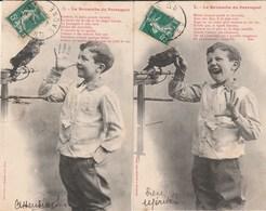 THEME  ENFANCE   2  CPA  BERGERET   LA REVANCHE DU PERROQUET - Cartes Humoristiques