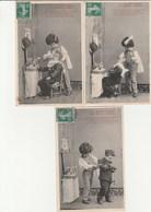 THEME  ENFANCE  3  CPA  BERGERET   LE PETIT COIFFEUR - Cartes Humoristiques