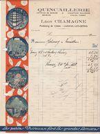 Facture Quincaillerie Léon Chamagne / Lampes Visseaux / 70 Luxeuil Les Bains - France