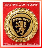 SUPER PIN'S LOGO PEUGOT : Peu Courant, Support Base Or, Cloisonné Et Relief, Diamètre 2,7cm Signé MOD DEP - Peugeot